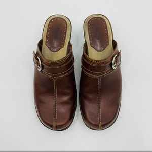 """Bass """"Leona"""" Brown Leather Clog Mules Size 8"""